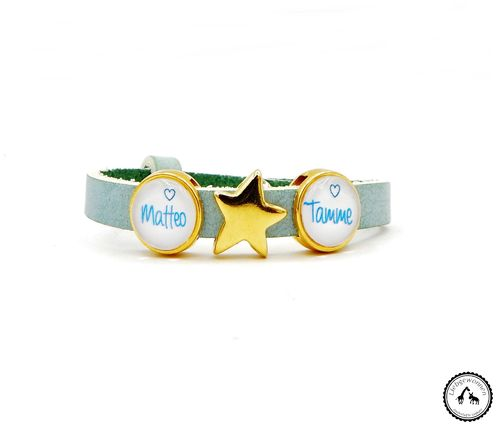 Armband mit Schiebeperlen in mint